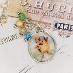Bonnet Easter Dancing Chick Broken China Jewelry Small Oval Crystal Pendant Necklace