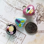 DeStash Cupcake Lampwork Bead Charms Glass and Sterling Silver Set / 3 B