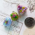 DeStash Cupcake Lampwork Bead Charms Glass and Sterling Silver Set / 3 C