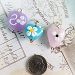 DeStash Cupcake Lampwork Bead Charms Glass and Sterling Silver Set / 3 D