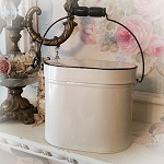 DeStash Enamel White Oval Lidded Pail Buy 1 Get 1 Free!