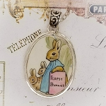 Flopsy Bunnies Broken China Jewelry Beatrix Potter Oval Sterling Pendant Necklace