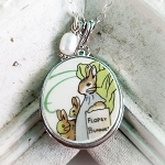 Broken China Jewelry Beatrix Potter Flopsy Bunnies Oval Sterling Pendant