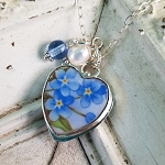 Remembrance Forget me Nots Broken China Jewelry Sterling Heart Charm Necklace