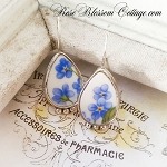 Petite Oval Broken China Jewelry Forget me Not Sterling Earrings 2