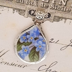 Forget Me Not Broken China Jewelry Fat Teardrop Pendant Necklace