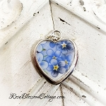 Petite Forget Me Not Broken China Jewelry Charm Small Pendant