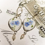 Forget Me Not Petite Heart Broken China Jewelry Earrings