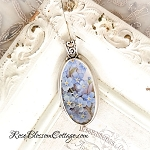 Forget Me Not Long Oval Broken China Jewelry Pendant Necklace