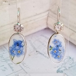 Forget me Not Broken China Jewelry Long Oval Earrings