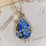 Teardrop Forget me Not Broken China Jewelry Sterling Pendant Necklace