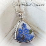 Forget Me Not Triangle Broken China Jewelry Pendant Necklace