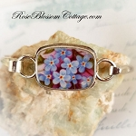 Forget Me Not & Purples Porcelain Broken China Jewelry Sterling Bangle Bracelet