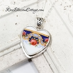 Vintage German Heart Ornate Bail Broken China Jewelry Pendant Necklace