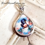 Happy Blue bird of Happiness Broken China Jewelry Charm Fat Teardrop Charm Pendant