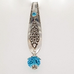 Key Finder Fob Vintage Silverplate spoon Purse Hanger Organizer Aqua Crystal