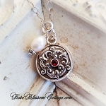 Wreath Scroll Charm Birthstone Charm Pendant Necklace Choice: January / February