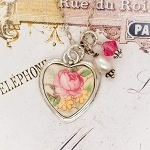 Peachy Pink Vintage Rose Broken China Jewelry Charm Necklace
