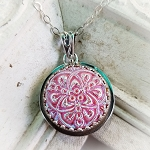 Iridescent Pink Scrolling Vintage Czech Button Pendant Necklace
