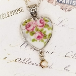 Pink Rambling Roses Vintage Broken China Jewelry Heart Pendant Necklace