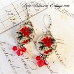 Poinsettia Round Broken China Jewelry Sterling Crystal Earrings