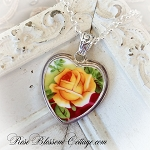Royal Albert Old Country Roses Large Yellow Rose Broken China Jewelry Sterling Heart Pendant Necklace