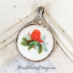 Christmas Red Bird Round Rope Edge Porcelain Winter Jewelry Pendant Necklace