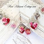 Red & Pink Roses Broken China Jewelry Sterling Charm Bracelet