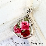 Red Pink Roses Porcelain Sterling Triangle Broken China Jewelry Necklace