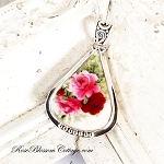 Red Pink Roses Broken China Jewelry Butterfly Triangle Pendant Necklace