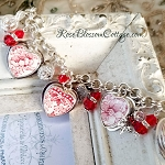 Red & White Transferware  Vintage Alfred Meakin Tonquin Broken China Jewelry Charm Bracelet