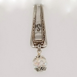Key Finder Vintage Silverplate S Monogram spoon Purse Hanger Organizer Crystal  Fob