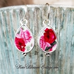 Teardrop Roses Shades of Pink Sterling Broken China jewelry Earrings