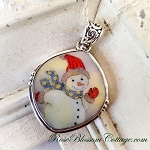 Waving Snowman Rounded Diamond Broken China Jewelry Sterling Necklace Pendant