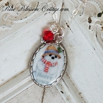 Happy Snowman Christmas Oval Porcelain Sterling Pendant Necklace