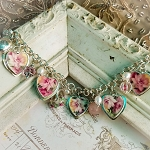 Soft Summer Rose Broken China Jewelry Locket Charm Bracelet