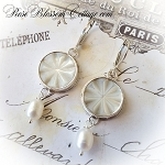 Mother of Pearl Star Antique Button Freshwater Pearl Sterling Earrings