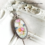 Antique Roses Swag Long Oval Broken China Jewelry Pendant Necklace