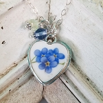 Three Forget me Nots Broken China Jewelry Sterling Heart Charm Necklace