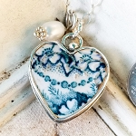 Indigo Antique Heart Broken china Jewelry Vintage  Pendant Necklace