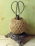 Twine Ribbon Cast Iron Holder with Scissors