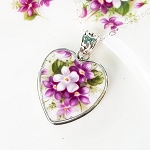Sweet Violets Royal Albert Bone China Broken China Jewelry Pendant Necklace