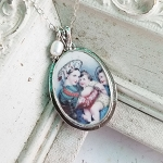 Romanian Mother Mary and Child Porcelain Sterling Broken China Jewelry Pendant Necklace