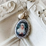 Virgin Mary Sterling Oval Pendant Necklace  Edgeless