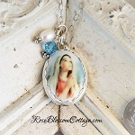 SALE Virgin Mary Prayer Oval Sterling Freshwater Pearl Aquamarine Crystal Pendant Necklace