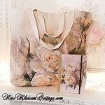 Romantic Language of Flowers Canvas Book, Grocery, Travel Tote & Journal - White Roses