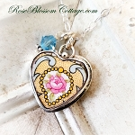 Yellow Medallion Pink Rose Heart Charm Broken China Jewelry Necklace