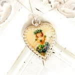 Limited Time:  Valentine Heart Violets Pearls Sterling Pendant Necklace