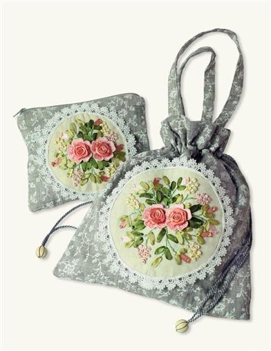 Embroidered Bag and Cosmetic Bag Set