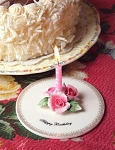 Pink Roses Porcelain Happy Birthday Candle Holder